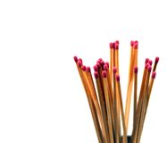 Wooden matches with pinhead inflammable sulphur Royalty Free Stock Images