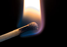 Wooden matchstick. Igniting into flame against black background royalty free stock photos