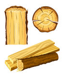 Wooden material wood and board vector illustration