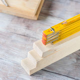 Wooden materials and measuring meter yellow pencil Stock Photos