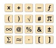 Wooden Math Symbols Stock Photo