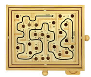 Wooden Maze Game. Top view of wooden maze dexterity game isolated over white background Royalty Free Stock Photo