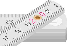 Wooden measure. White wooden ruler with centimeter scale fold Royalty Free Stock Photography