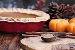 Wooden Measuring Spoon Filled with Pumpkon Pie Spice. Pumpkin pie spice measured in a wooden spoon over a rustic wooden background. Pie and pumpkins in the stock photography