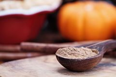 Wooden Measuring Spoon Filled with Pumpkon Pie Spices. Pumpkin pie spice measured in a wooden spoon over a rustic wooden background. Pie and pumpkins in the royalty free stock photography
