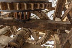 Wooden mechanism of a water mill Royalty Free Stock Images