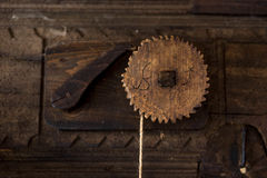 Wooden mechanism of a water mill Royalty Free Stock Photos