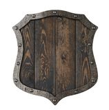 Wooden medieval heraldic shield isolated 3d illustration Royalty Free Stock Photos