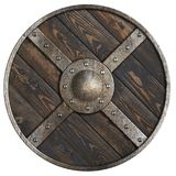 Wooden medieval round shield with metal frame and cross isolated 3d illustration Royalty Free Stock Image