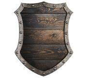 Wooden medieval shield with metal frame isolated 3d illustration Stock Images