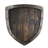 Wooden medieval vikings shield with metal frame 3d illustration royalty free stock photos