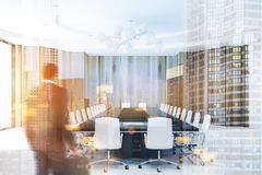 Wooden meeting room, black table toned stock photo