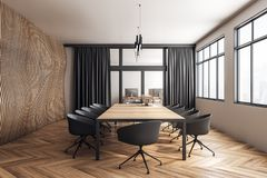 Wooden meeting room. Modern wooden meeting room interior with furniture, curtains and city view. 3D Rendering stock illustration