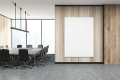 Wooden meeting room, poster Stock Image