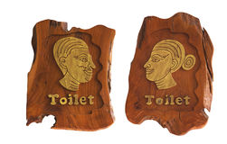 Wooden Men and Women of toilet sign. Isolated on white Royalty Free Stock Photo