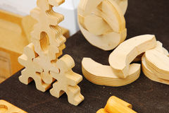Wooden men. Wooden toy for kids. Stock Photos
