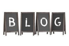 Wooden Menu Blackboard Outdoor Displays with Blog Sign. 3d Rende. Wooden Menu Blackboard Outdoor Displays with Blog Sign on a white background. 3d Rendering Stock Photography