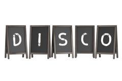 Wooden Menu Blackboard Outdoor Displays with Disco Sign. 3d Rend. Wooden Menu Blackboard Outdoor Displays with Disco Sign on a white background. 3d Rendering Stock Image
