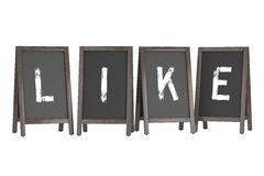 Wooden Menu Blackboard Outdoor Displays with Like Sign. 3d Rende Stock Image