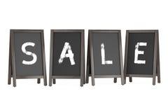 Wooden Menu Blackboard Outdoor Displays with Sale Sign. 3d Rende. Wooden Menu Blackboard Outdoor Displays with Sale Sign on a white background. 3d Rendering Royalty Free Stock Image