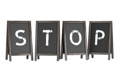 Wooden Menu Blackboard Outdoor Displays with Stop Sign. 3d Rende. Wooden Menu Blackboard Outdoor Displays with Stop Sign on a white background. 3d Rendering Stock Image
