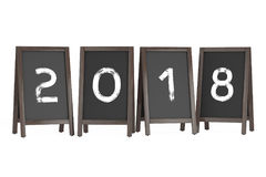 Wooden Menu Blackboard Outdoor Displays with 2018 Year Sign. 3d. Wooden Menu Blackboard Outdoor Displays with 2018 Year Sign on a white background. 3d Rendering Royalty Free Stock Photography