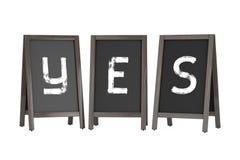 Wooden Menu Blackboard Outdoor Displays with Yes Sign. 3d Render. Wooden Menu Blackboard Outdoor Displays with Yes Sign on a white background. 3d Rendering Royalty Free Stock Photo