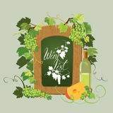 Wooden menu blackboard, Wine bottle, cheese and green grapes and. Leaves on beige background. Calligraphic handdrawn text Wine list. Element for restaurant, bar vector illustration