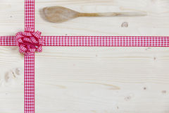 Wooden menu card with cooking spoon Royalty Free Stock Photo