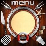 Wooden Menu with Metal Porthole. Restaurant wooden menu with metal porthole, yellow empty page, kitchen utensils, seashells, starfish and lifebuoy Royalty Free Stock Images