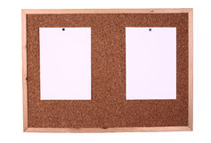 Wooden message board. 2 pieces of note paper for message attached to a wooden message board Royalty Free Stock Image