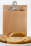 Wooden message board and chicken liver stuffing Stock Photo