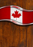 Wooden and Metal Background with Canadian Flag Stock Photo