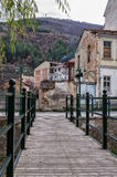 Wooden and metal pedestrian bridge in Florina, a popular winter destination in northern Greece Royalty Free Stock Image