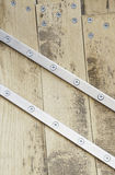 Wooden and metal screws Royalty Free Stock Photo