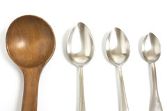 Wooden and metal spoon Stock Photography