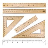 Wooden Rulers Set Vector. Metric Imperial. Centimeter, Inch.  Royalty Free Stock Photos