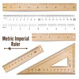 Wooden Metric Imperial Rulers Vector. Centimeter And Inch.   Royalty Free Stock Images