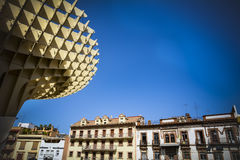 Wooden Metropol Parasol with Seville buildings and sky Royalty Free Stock Photo