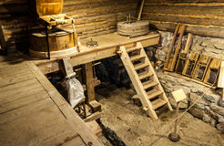 Wooden mill inside Royalty Free Stock Photos