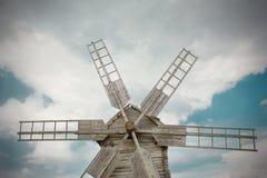 Wooden mill in outdoor ukrainian national falk historical village Stock Image