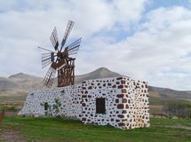 A wooden mill with six wings on Fuerteventura Royalty Free Stock Image