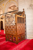 Wooden minbar, sermon pulpit of Ottoman times Stock Photo