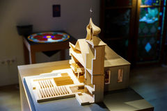 Wooden miniature model of old church Royalty Free Stock Photos