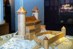 Wooden miniature model of old medieval fortress Andlau Royalty Free Stock Images