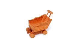 Wooden miniature shopping cart isolated Royalty Free Stock Images
