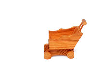 Wooden miniature shopping cart isolated Royalty Free Stock Image