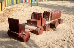 Wooden Miniature Train in Children`s Playground stock photos