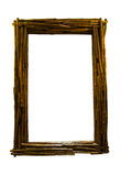 Wooden mirror frame. Isolated on white background Stock Photo