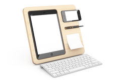 Wooden Mobile Devices Organiser. 3d Rendering Stock Photo